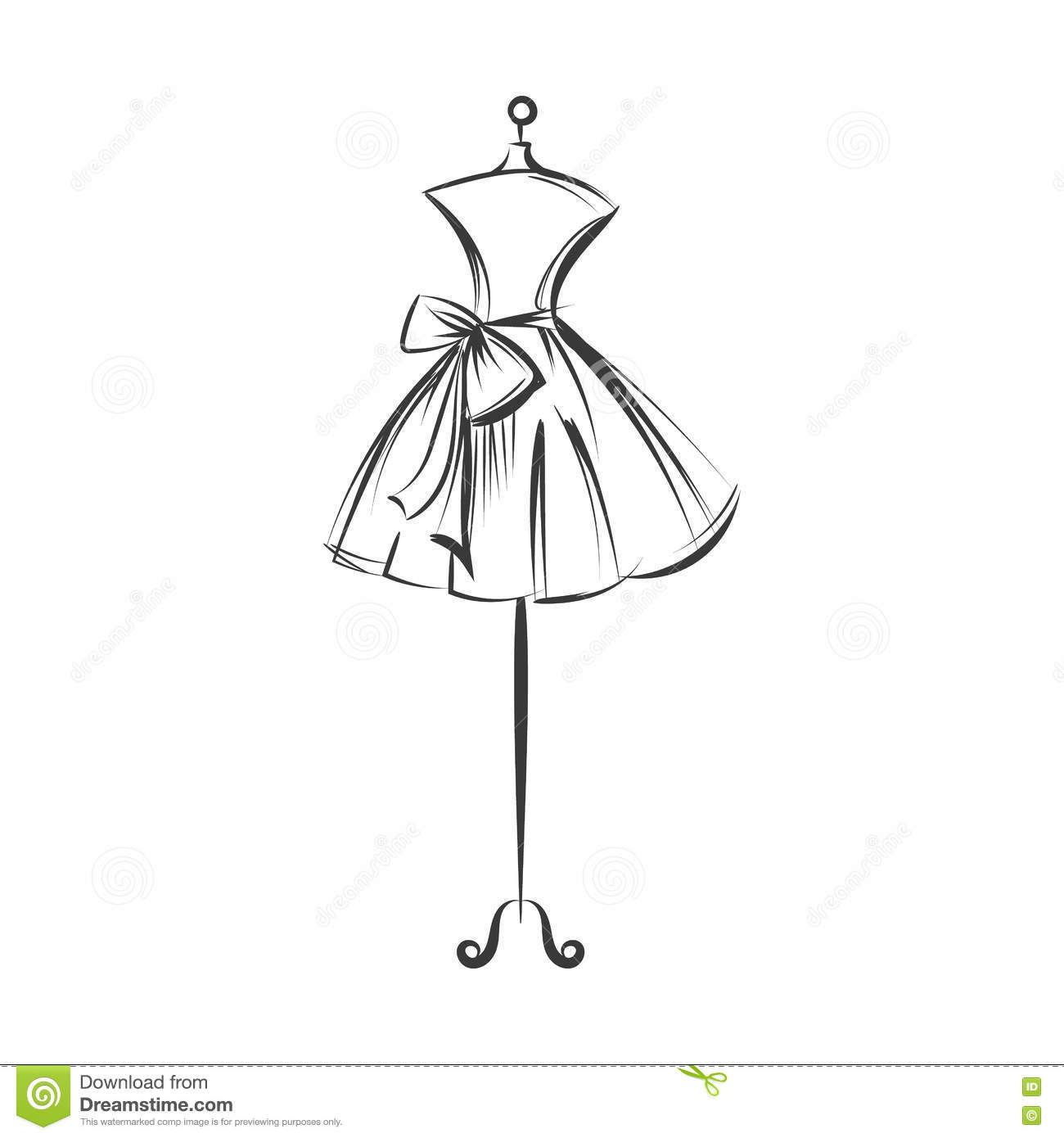 dummy dress hand drawing illustration vector stock vector dress form mannequin clipart Dress Form Silhouette Clip Art