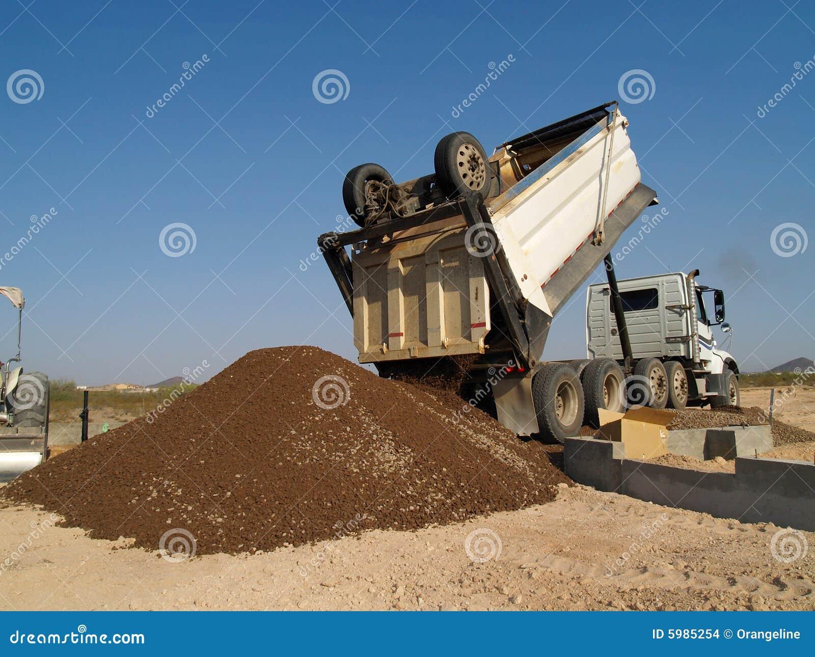 dump truck backed up dumping dirt stock images image 5985254. Black Bedroom Furniture Sets. Home Design Ideas