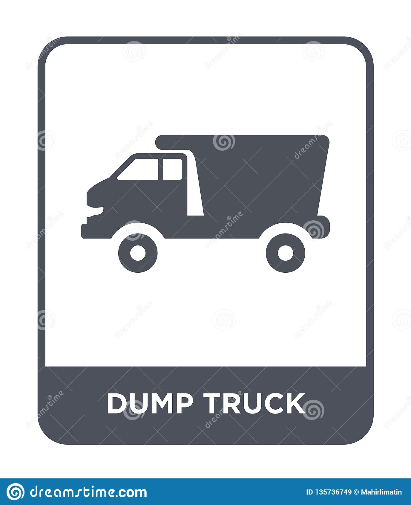 dump truck icon in trendy design style. dump truck icon isolated on white background. dump truck vector icon simple and modern