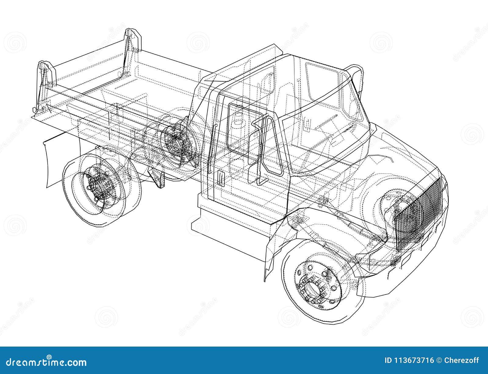 Dump truck illustration 3D