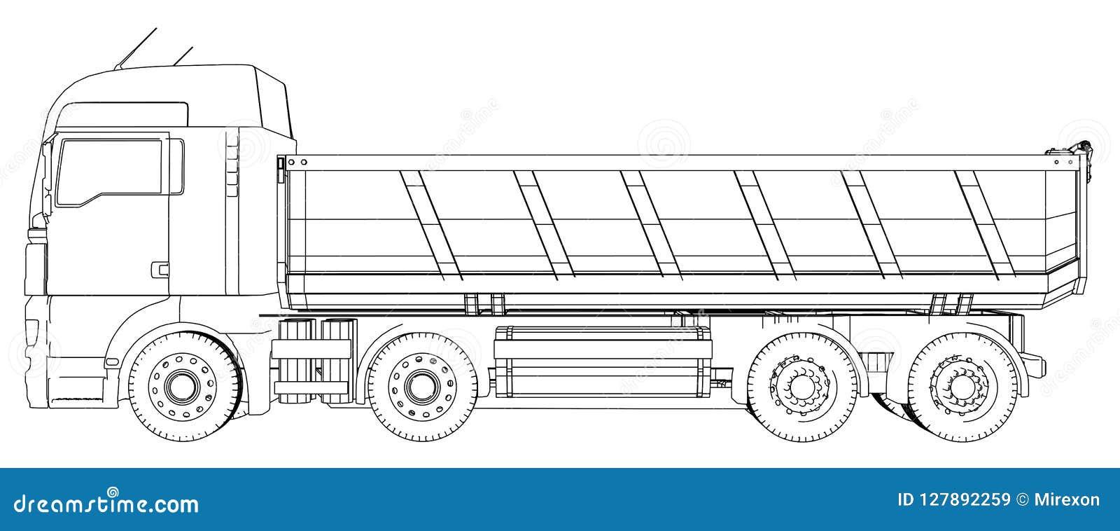 Dump truck Illustration de découverte de 3d Format de vecteur d ENV 10 d isolement sur le blanc