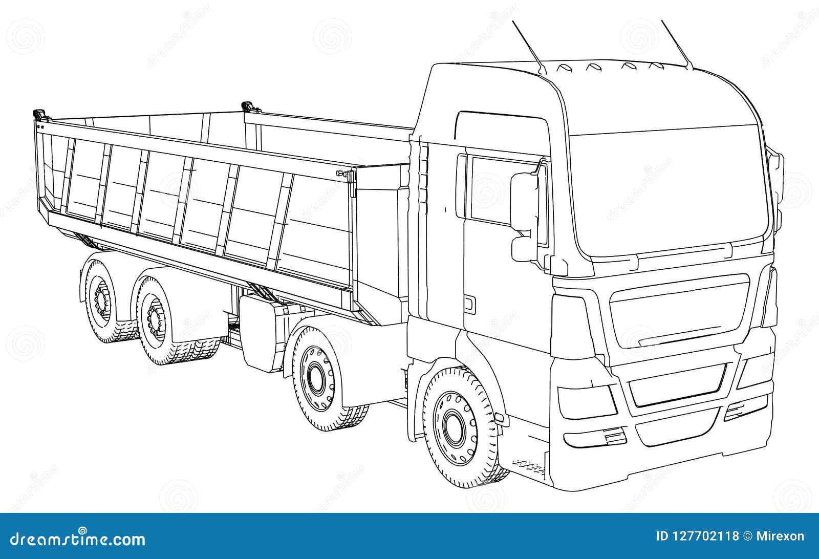 Dump truck Le vecteur a créé l illustration de 3d style de Fil-cadre Les couches de lignes évidentes et invisibles sont séparées