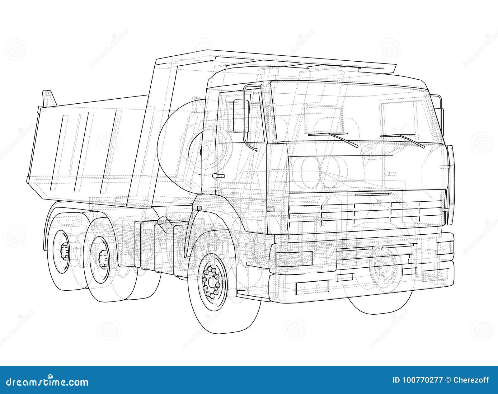 Download Dump Truck Vector Stock Illustration Of Drawing