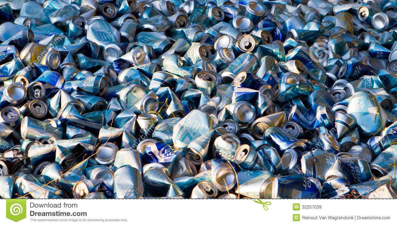 Dumped Beer Cans Banner Editorial Stock Image Image