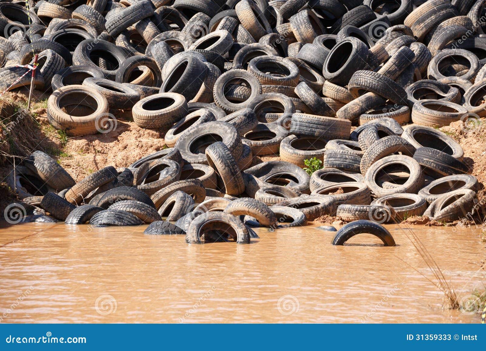 Dumped old car tires