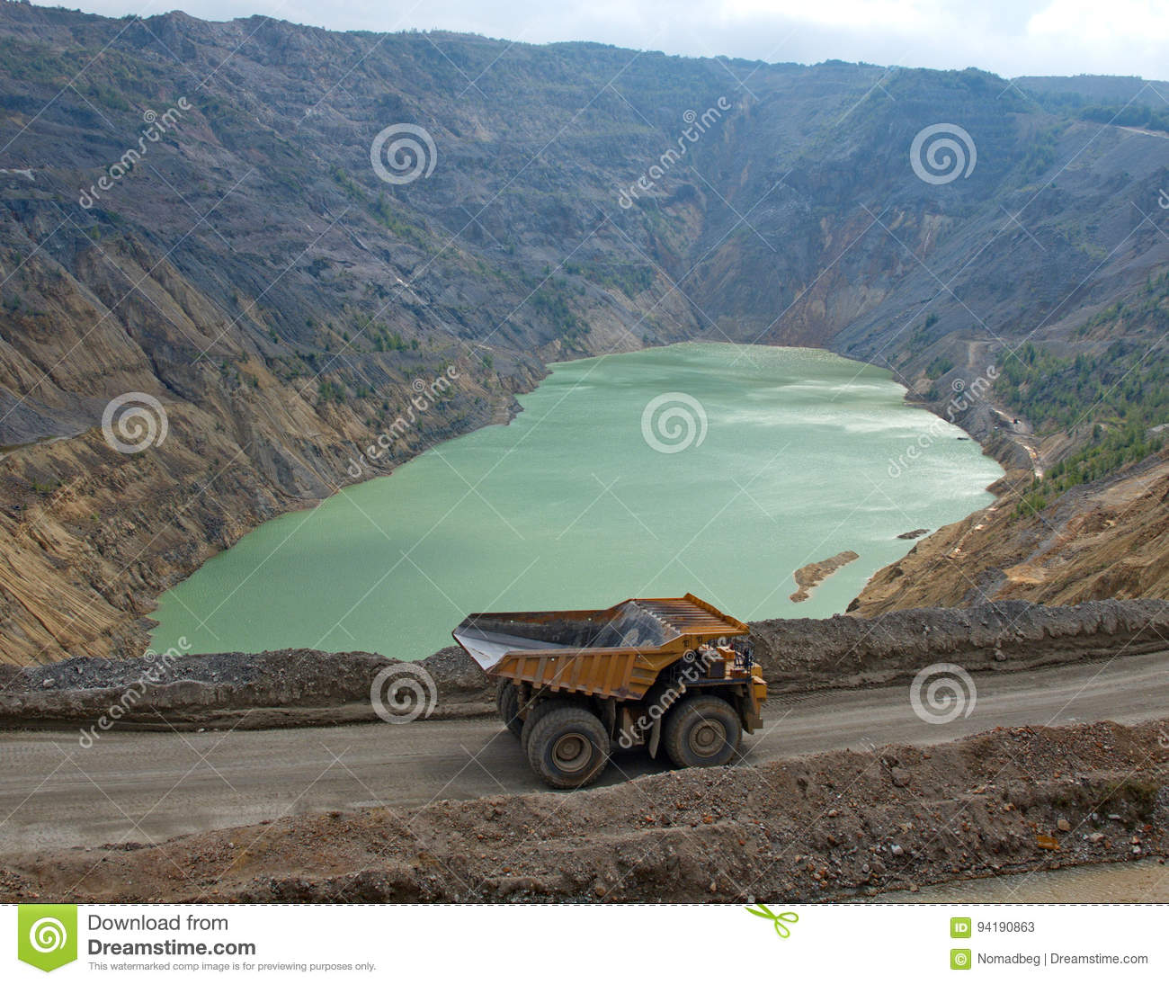 Dumper and polluted, toxic lake of the flotation of copper mines