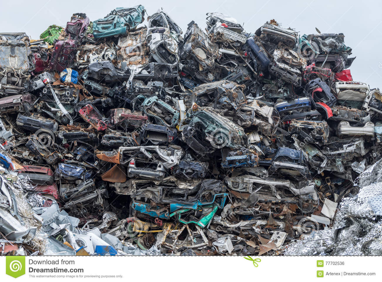 Scrap Metal Prices Cars >> Dumping Ground. Scrap Metal Heap. Compressed Crushed Cars Is Returned For Recycling. Iron Waste ...