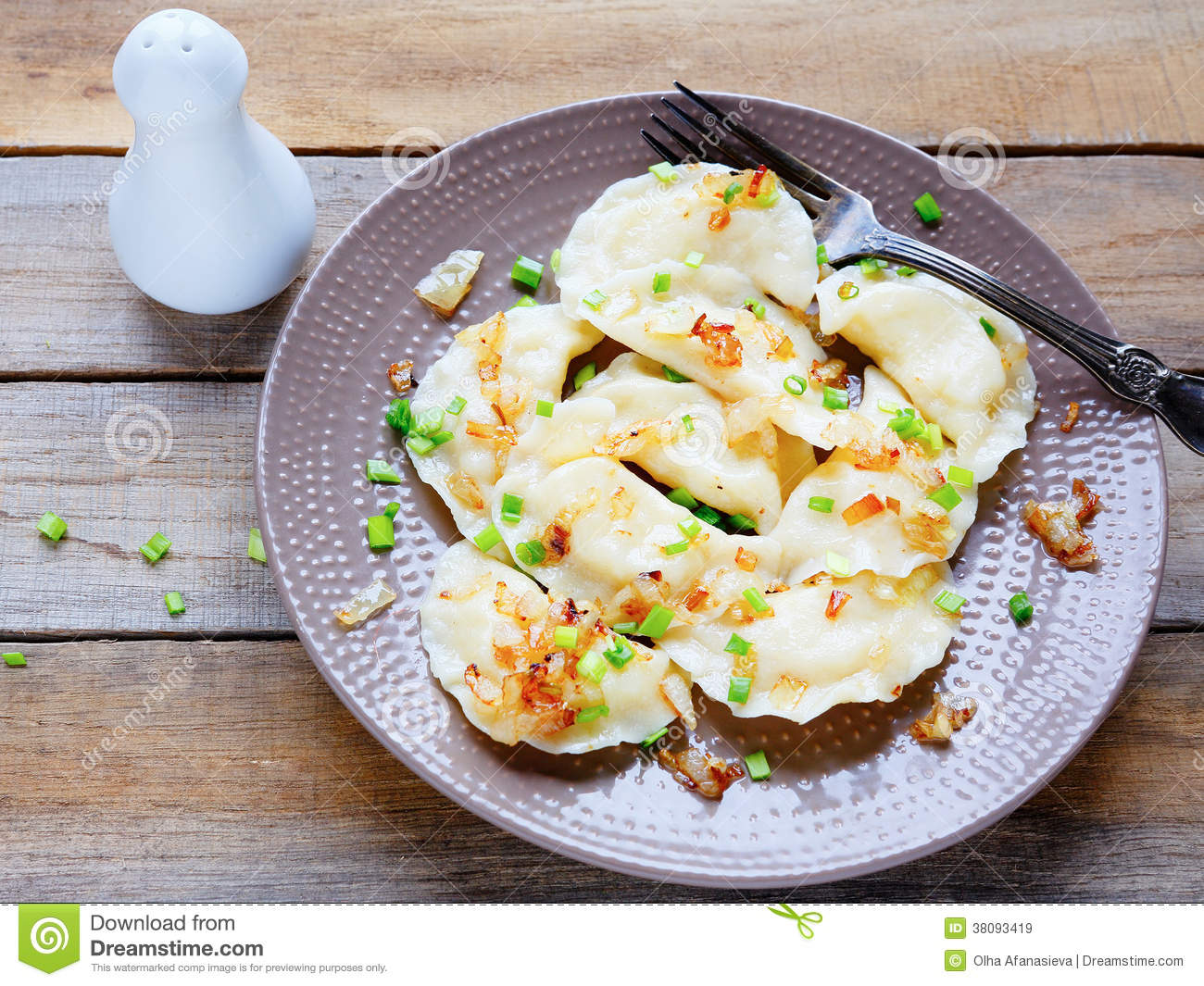 Dumplings with potato and onion rings