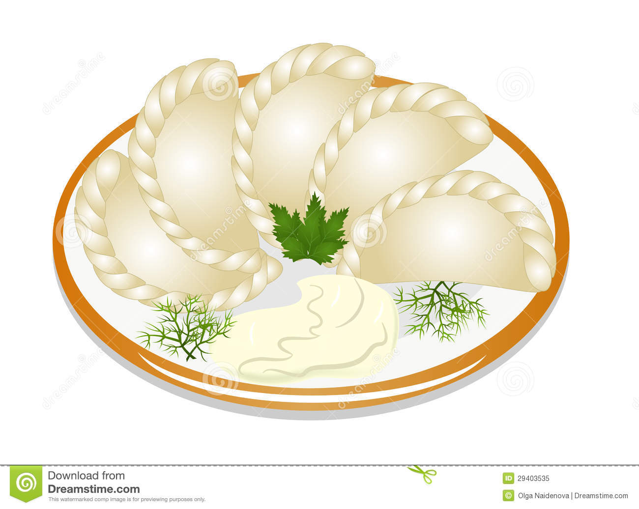 Painting The Kitchen Dumplings With Sour Cream On The Plate Royalty Free Stock