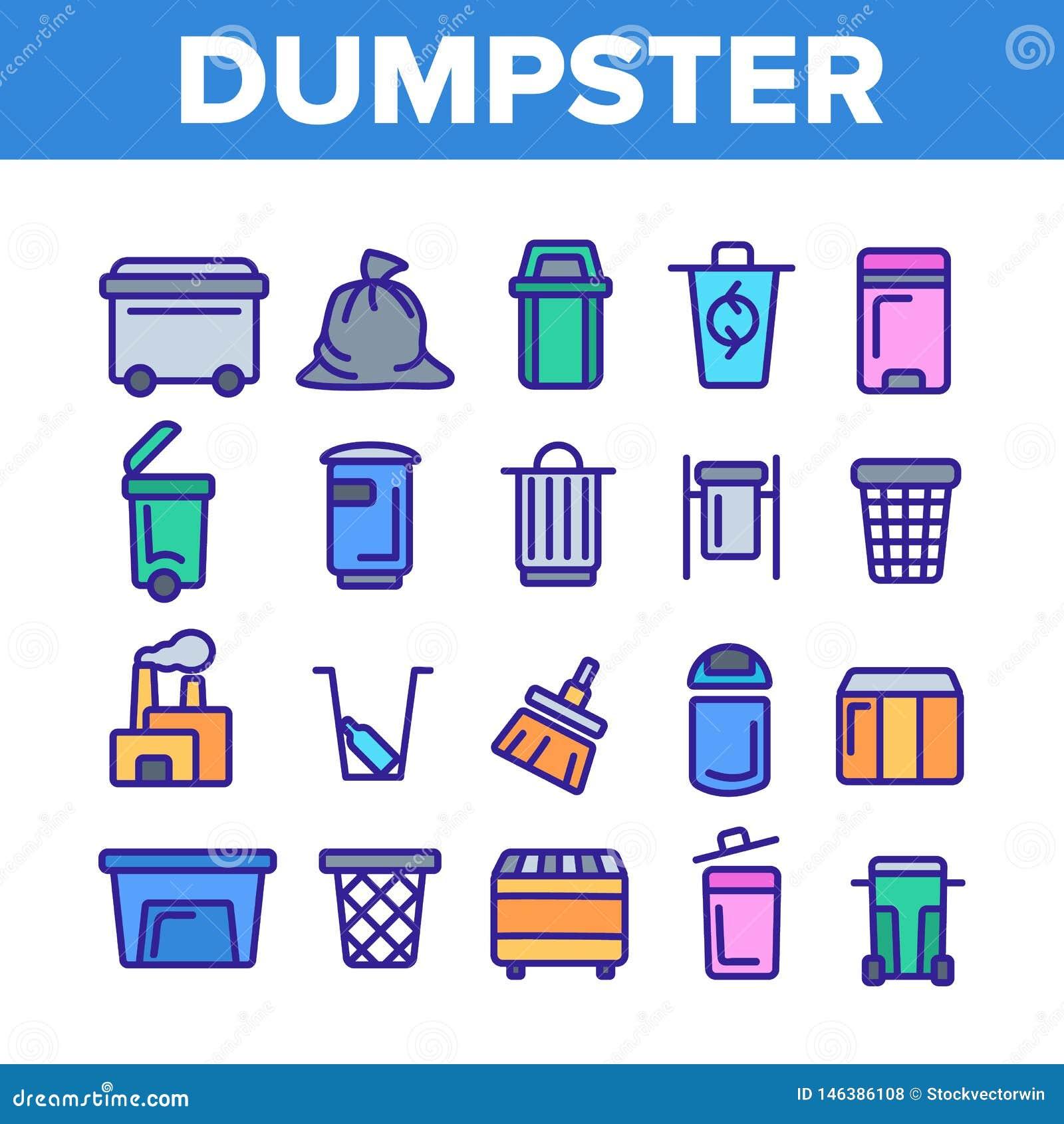 Dumpster, λεπτά εικονίδια γραμμών εμπορευματοκιβωτίων απορριμάτων καθορισμένα