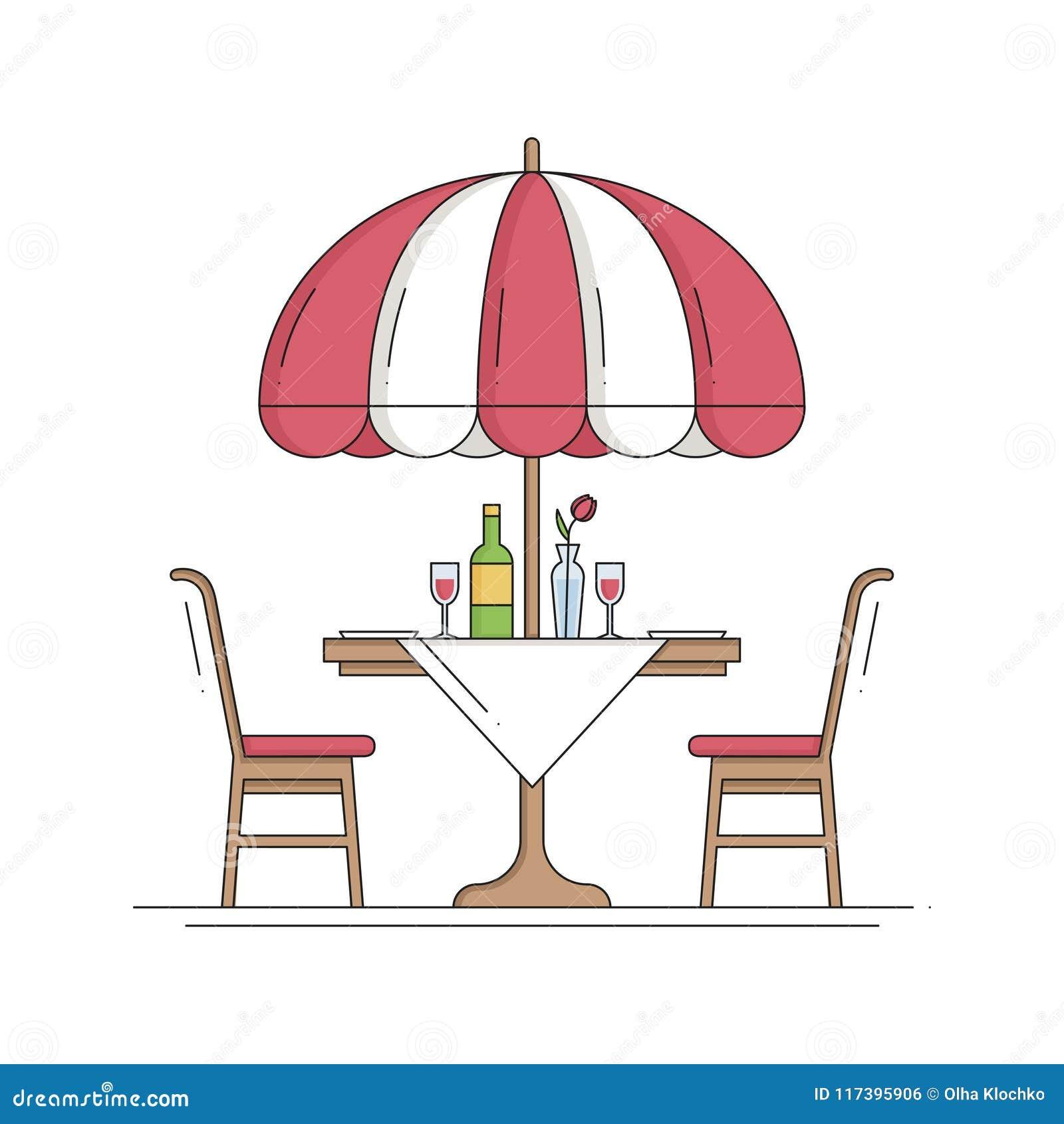 Dun de Lijnpictogram van de restaurantkoffie Lijst en stoel buiten Bon Appetit outdoors Het Restaurantteken van de straatkoffie V