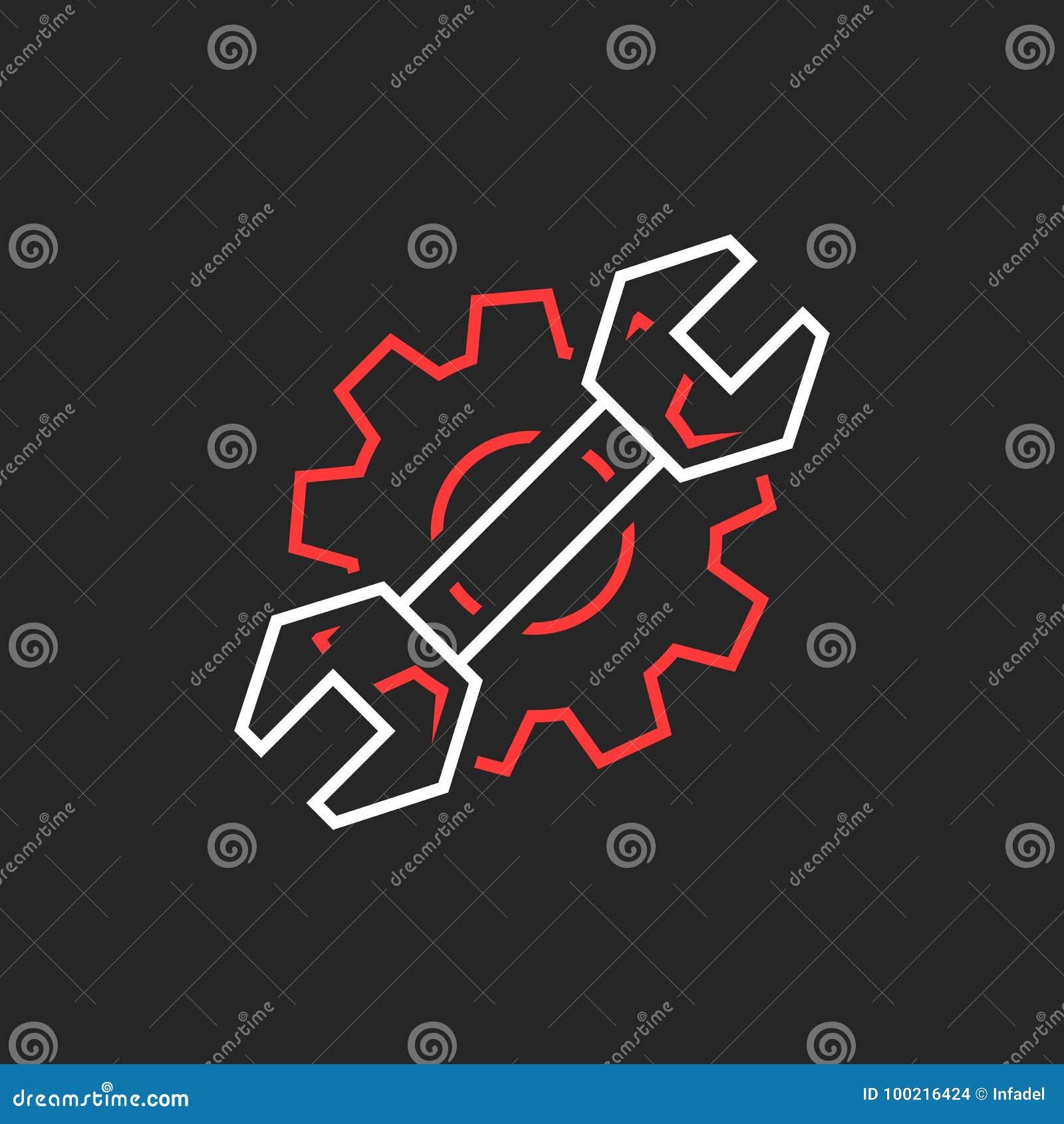 Dun lijnmoersleutel en toestel zoals het embleem van de reparatiedienst