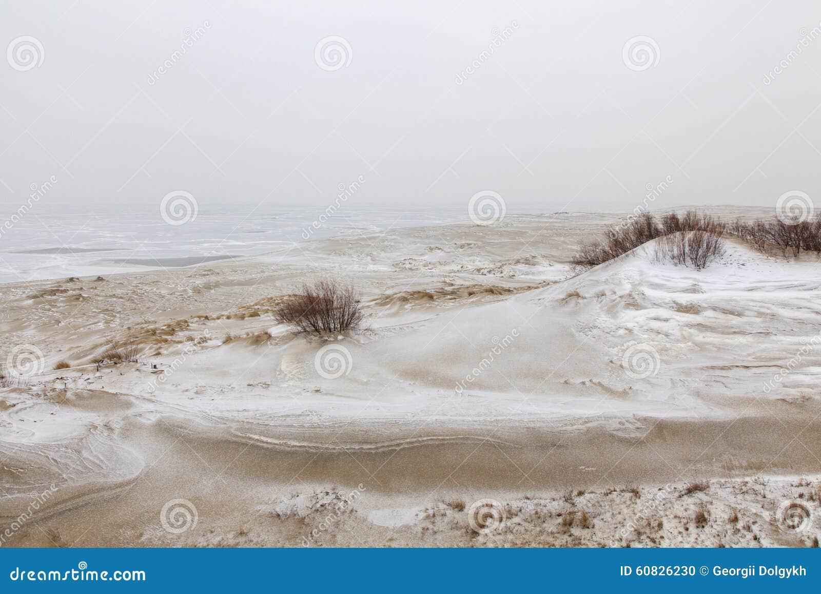 Dunas de arena nevadas