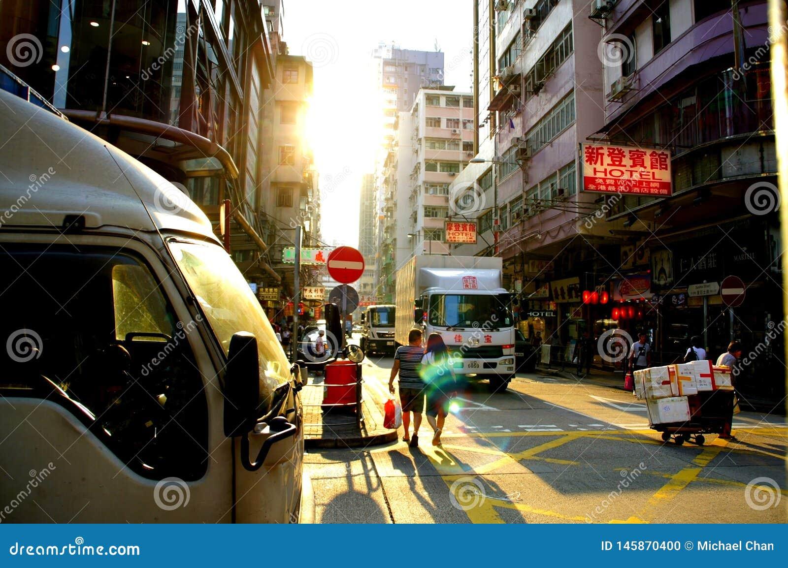 Dundas-Straße in Kowloon, Hong Kong sehen Yau Ma Tei