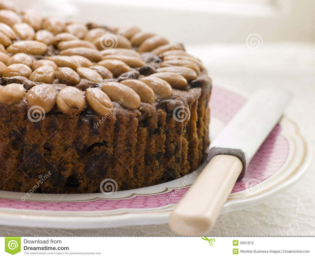 Dundee Cake Clip Art : Dundee Cake On A Plate Stock Photography - Image: 5931912