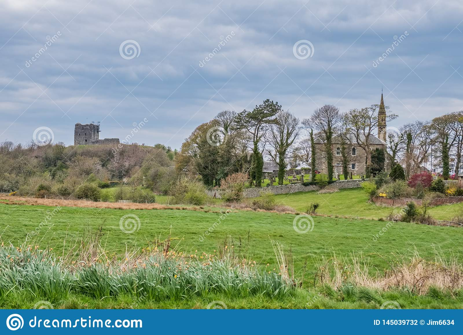 Dundonald miasteczko, wioska w południe Za zachód od Szkocja