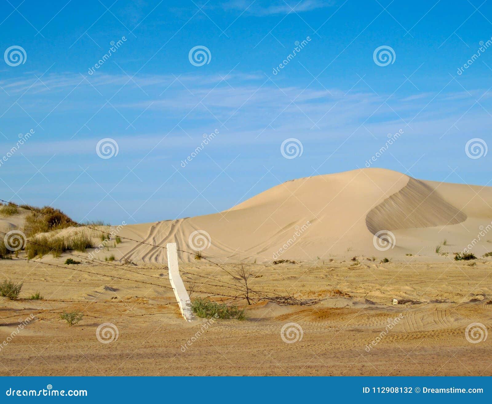 Dune di sabbia costiere con le piste della gomma e recinto del filo spinato contro cielo blu in Libia