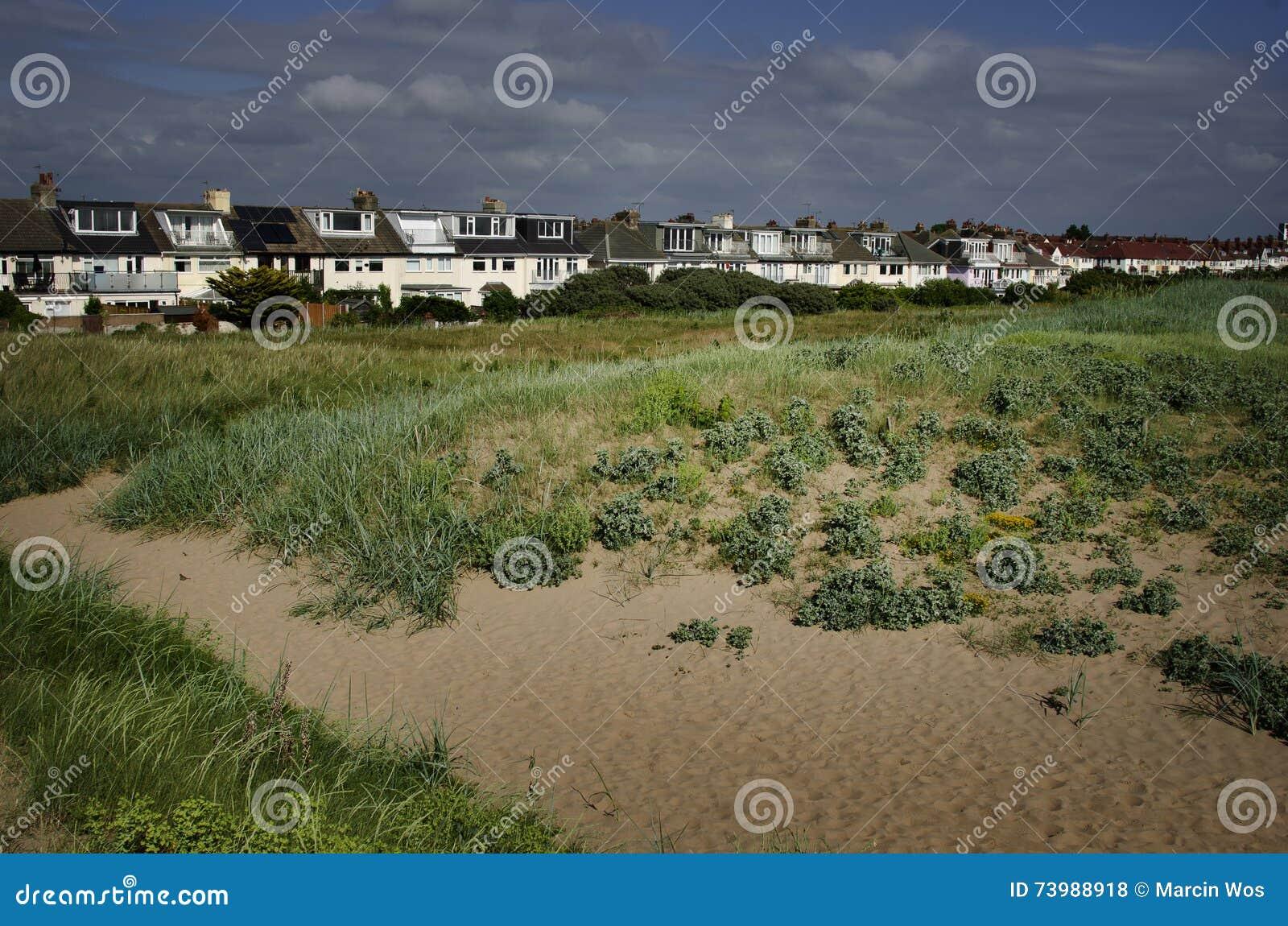 Dunes sur une plage Crosby, Angleterre