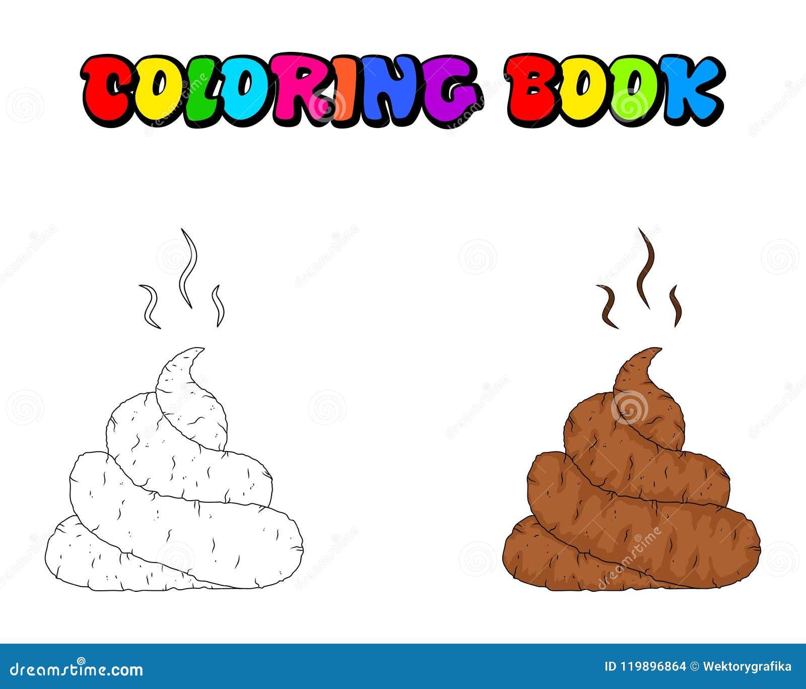 Dunette De Bande Dessinee Livre De Coloriage De Merde D Isolement Sur Le Fond Blanc Illustration De Vecteur Illustration Du Merde Livre 119896864
