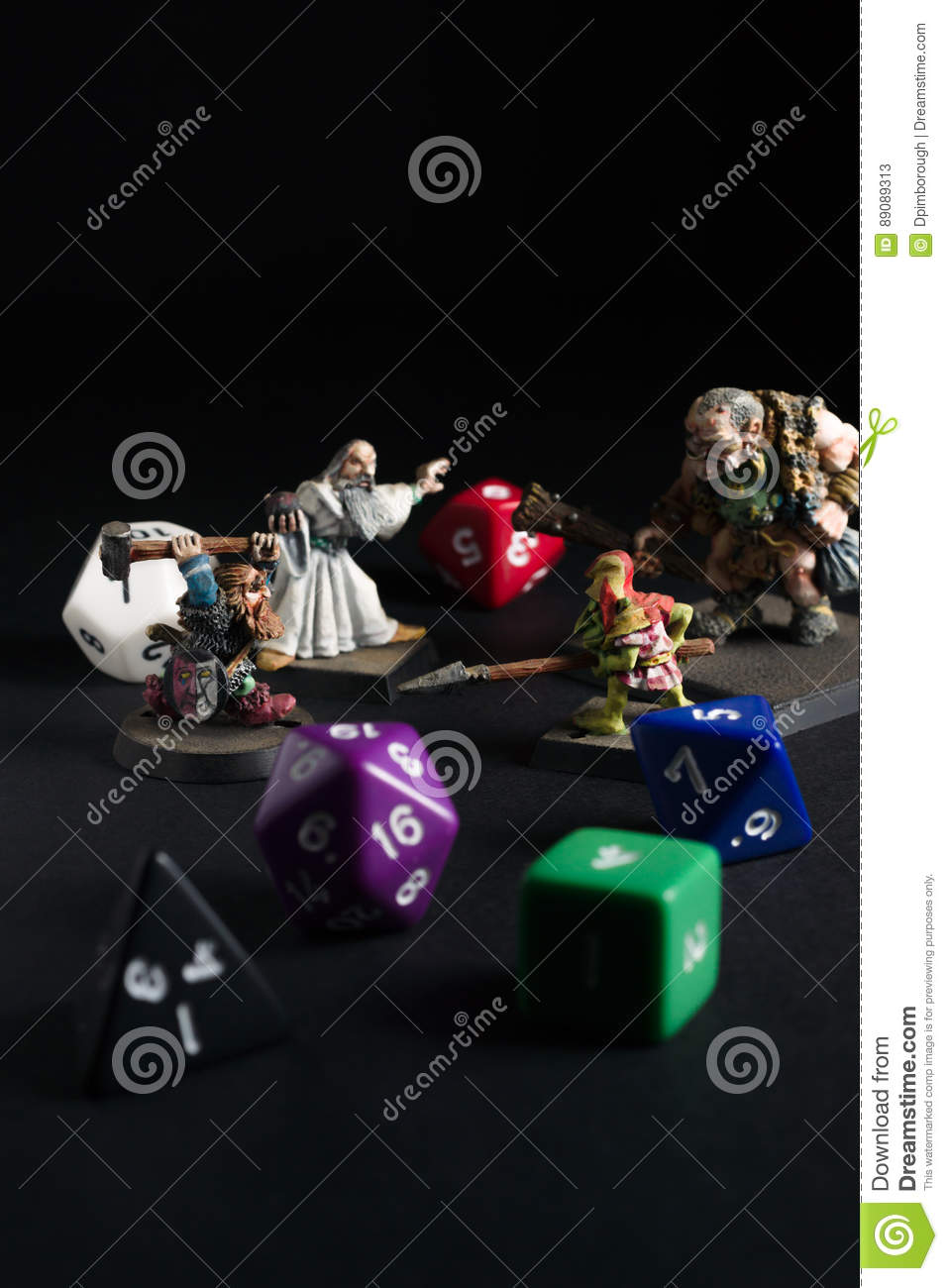 Dungeons And Dragons Figures And Dice Editorial Stock Photo - Image