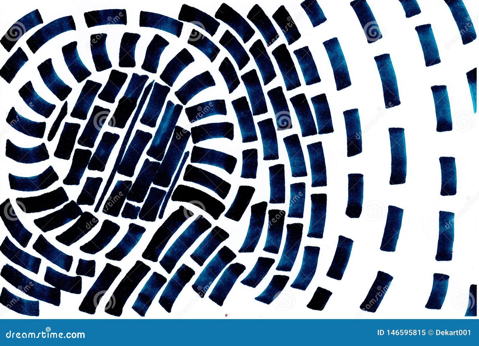 Dunkelblaue abstrakte Form der Handgezogenen Turbulenz auf weißem Hintergrund