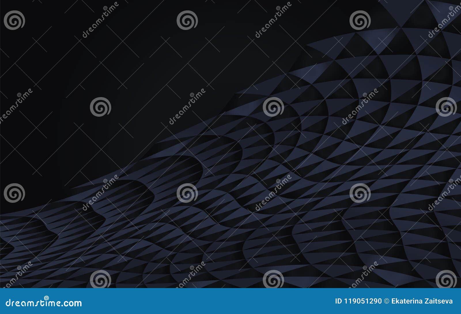 Dunkelblaues abstraktes geometrisches gekurvt vom Dreieckvektor hob Element-Gegenstandde des Halbschattenschwarzwellenschattenvol