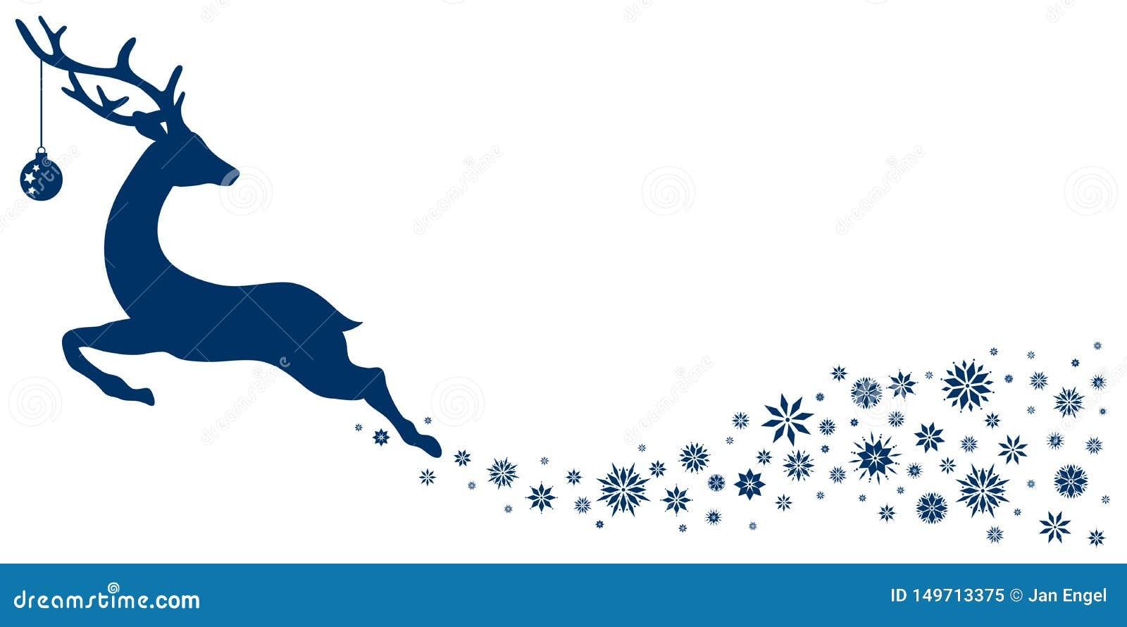 Dunkelblaues fliegendes Ren mit dem Weihnachtsball, der zurück Sterne schaut