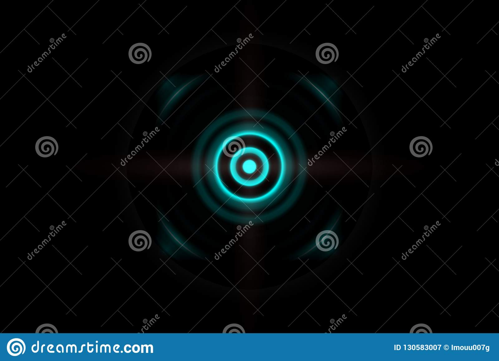 Dunkelgrüner Effekt des Zusammenfassungsauges mit oszillierendem Hintergrund der Schallwellen