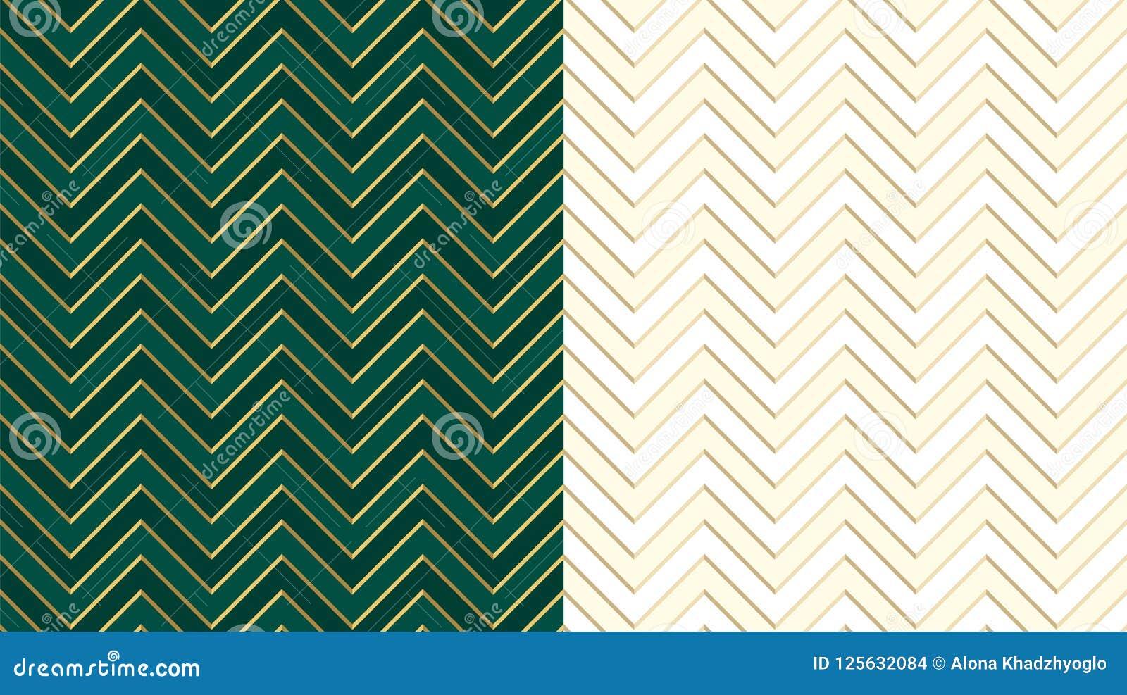 Dunkelgrünes nahtloses Smaragdmuster Chevron-Zickzacks mit goldenen Linien Netter Elfenbeinhintergrund im hellen Halbton