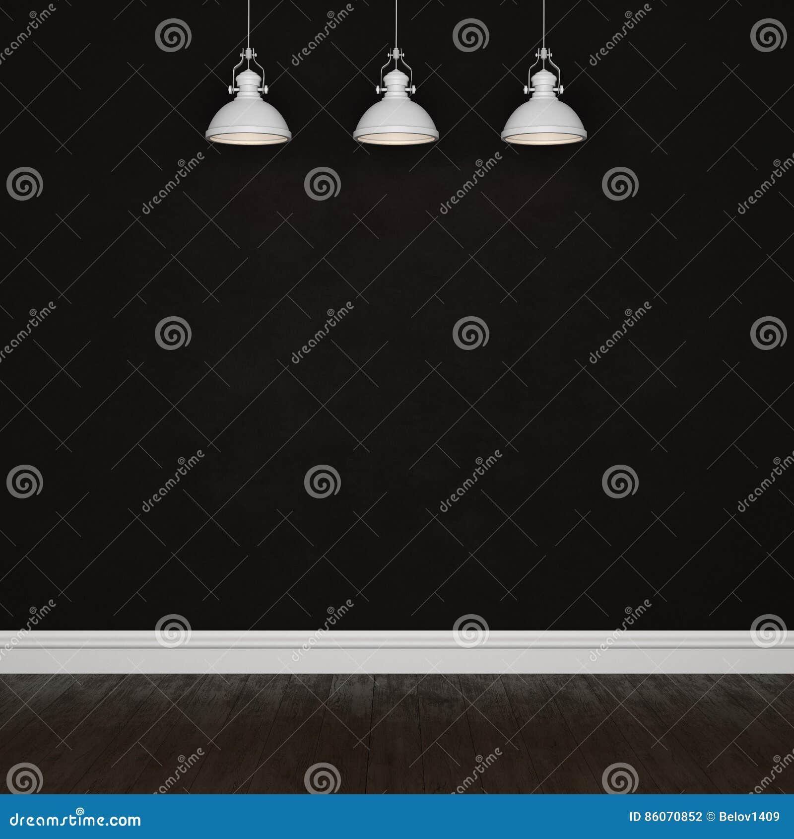 Dunkle Betonmauer und Bretterboden mit elektrischen Lampen