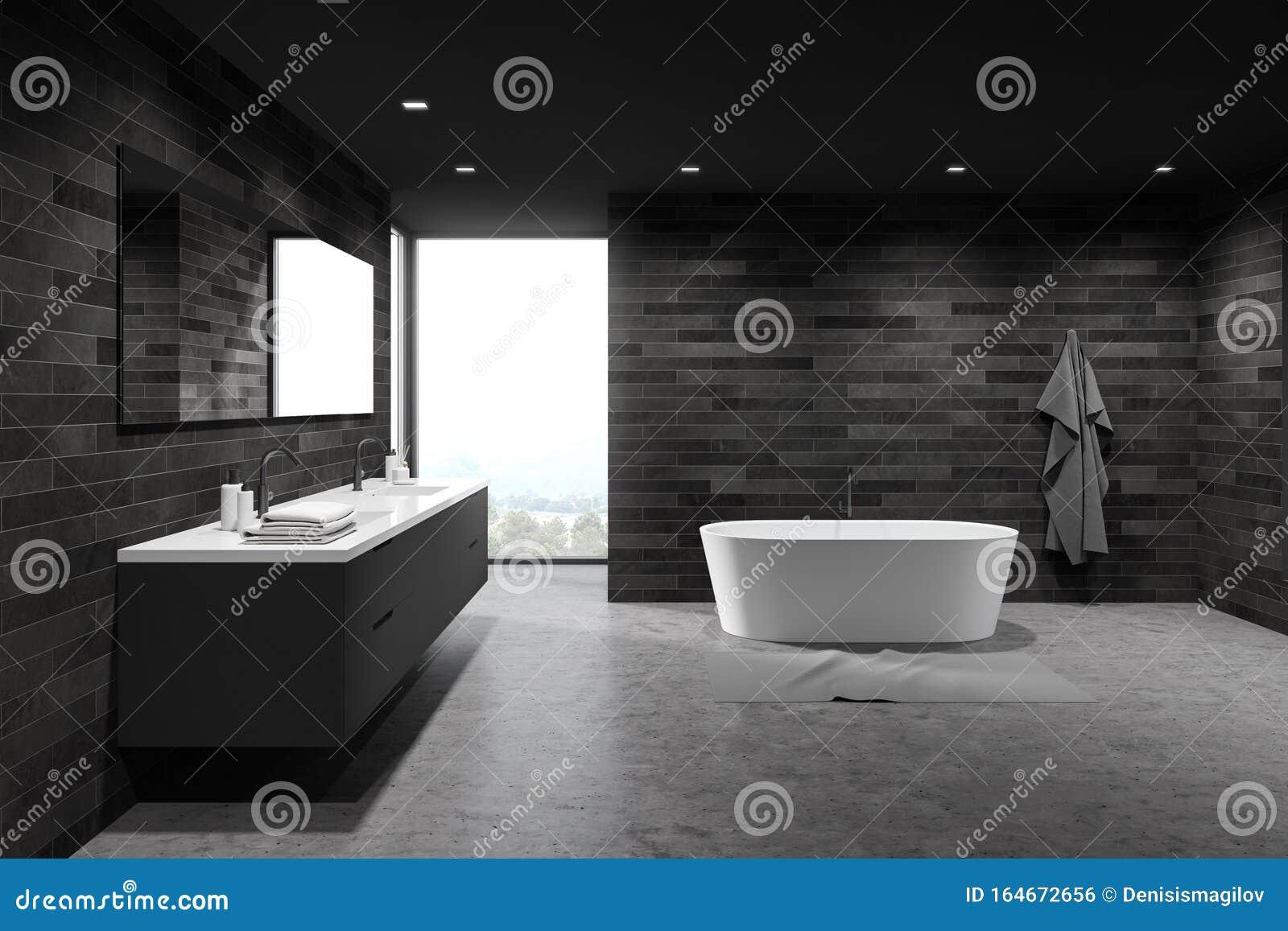 Dunkle Fliesen Geräumige Badezimmer, Wanne Und Waschbecken Stock ...