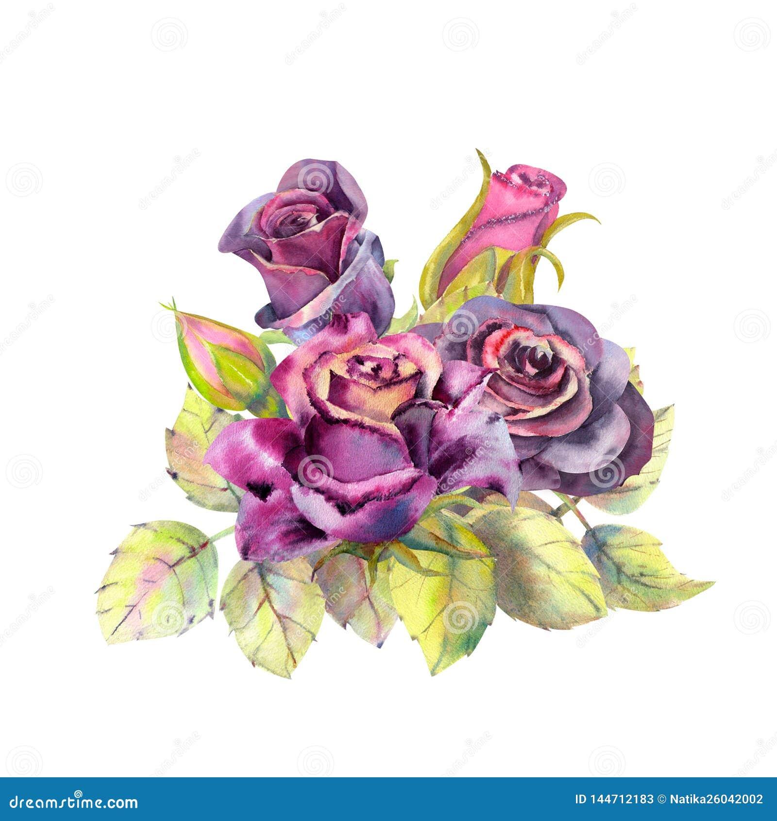 Dunkle rosafarbene Blume, gr?ne Bl?tter, Zusammensetzung Das Konzept der Heiratsblumen Blumenplakat, Einladung watercolor
