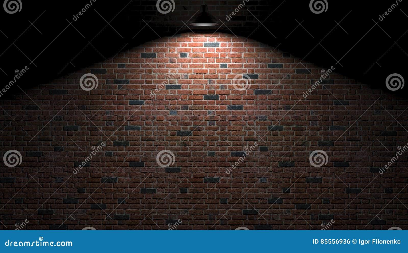 Dunkle Wand mit Lampe über Wiedergabe 3d