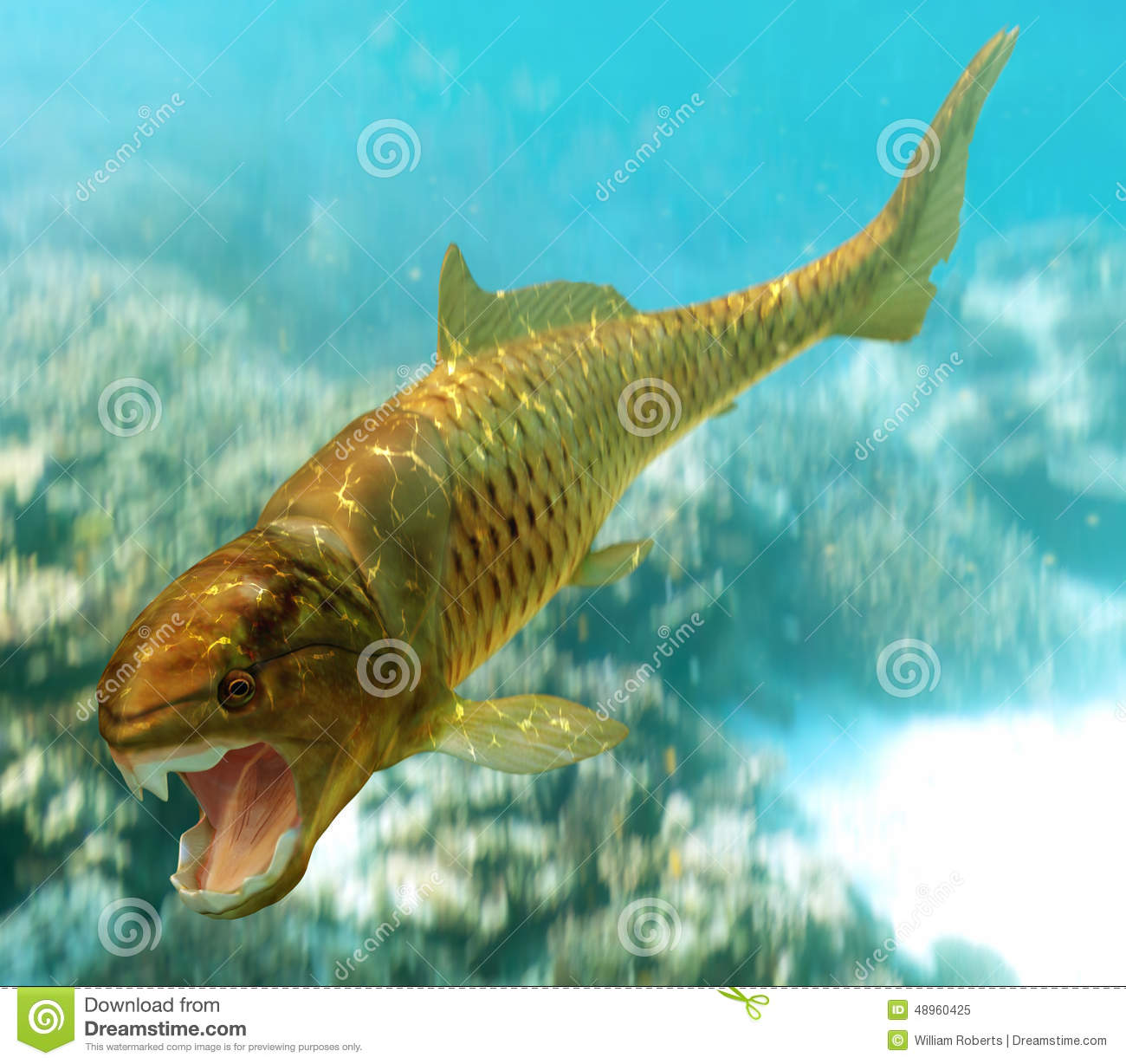Dunkleosteus stock illustration image 48960425 for Dream of fish swimming