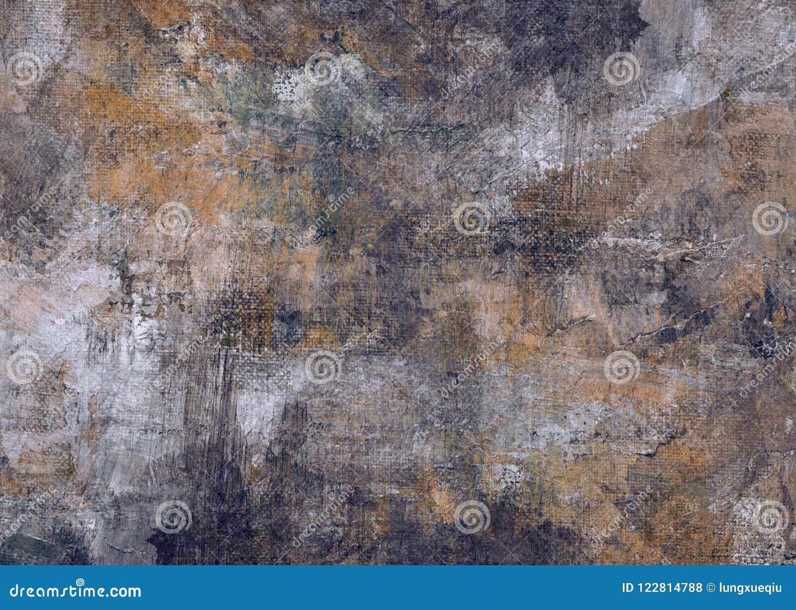Dunkler abstrakter malender Schmutz Rusty Distorted Decay Old Texture Grey Brown Black Stones Canvass für Autumn Background Wallp