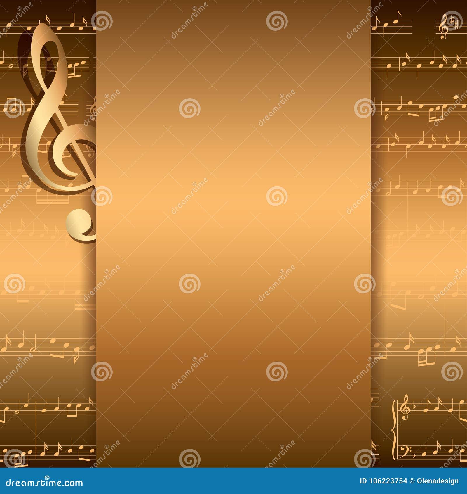 Dunkler Goldhintergrund Mit Musikanmerkungen - Vector Musikalischen ...