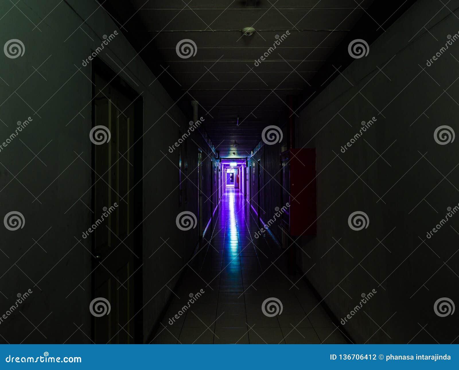 Dunkler mysteriöser Korridor im Gebäude Türraumperspektive im Gebäude mit violettem Licht, Grausigkeitskonzept