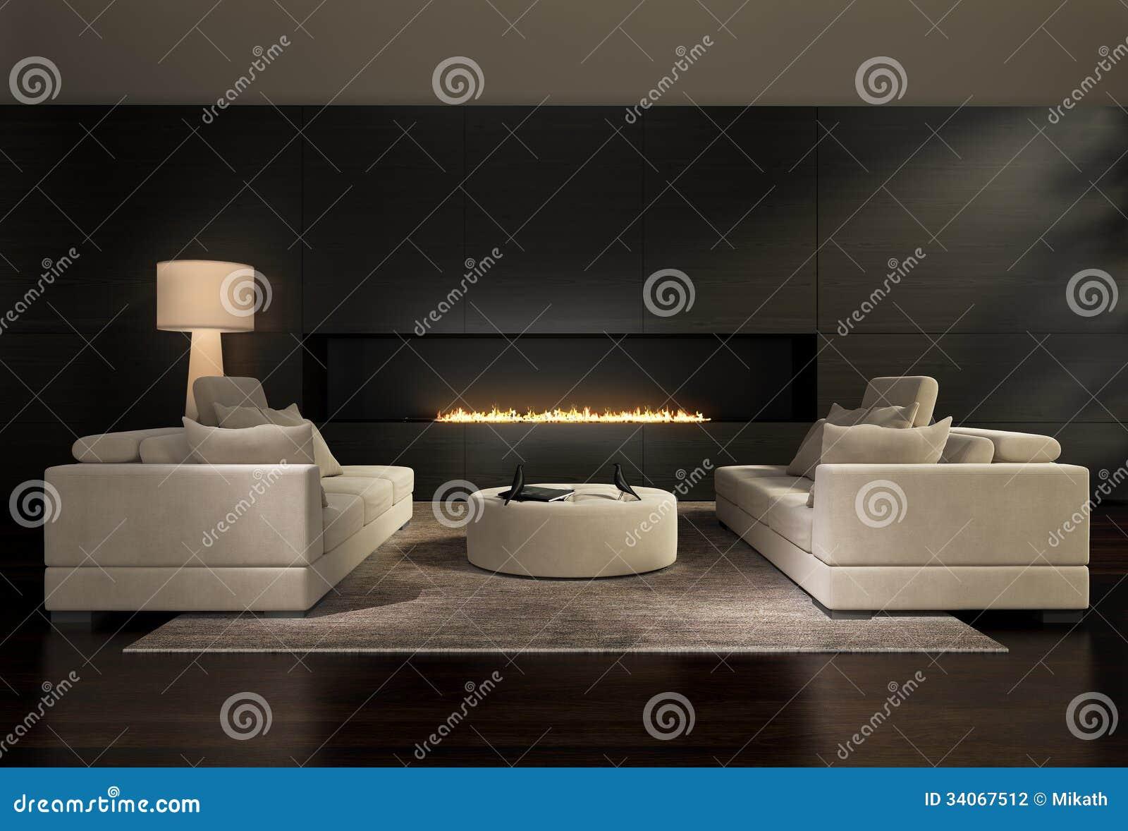 Dunkler Zeitgenössischer Innenraum, Ein Wohnzimmer Mit Einem Flachen ...