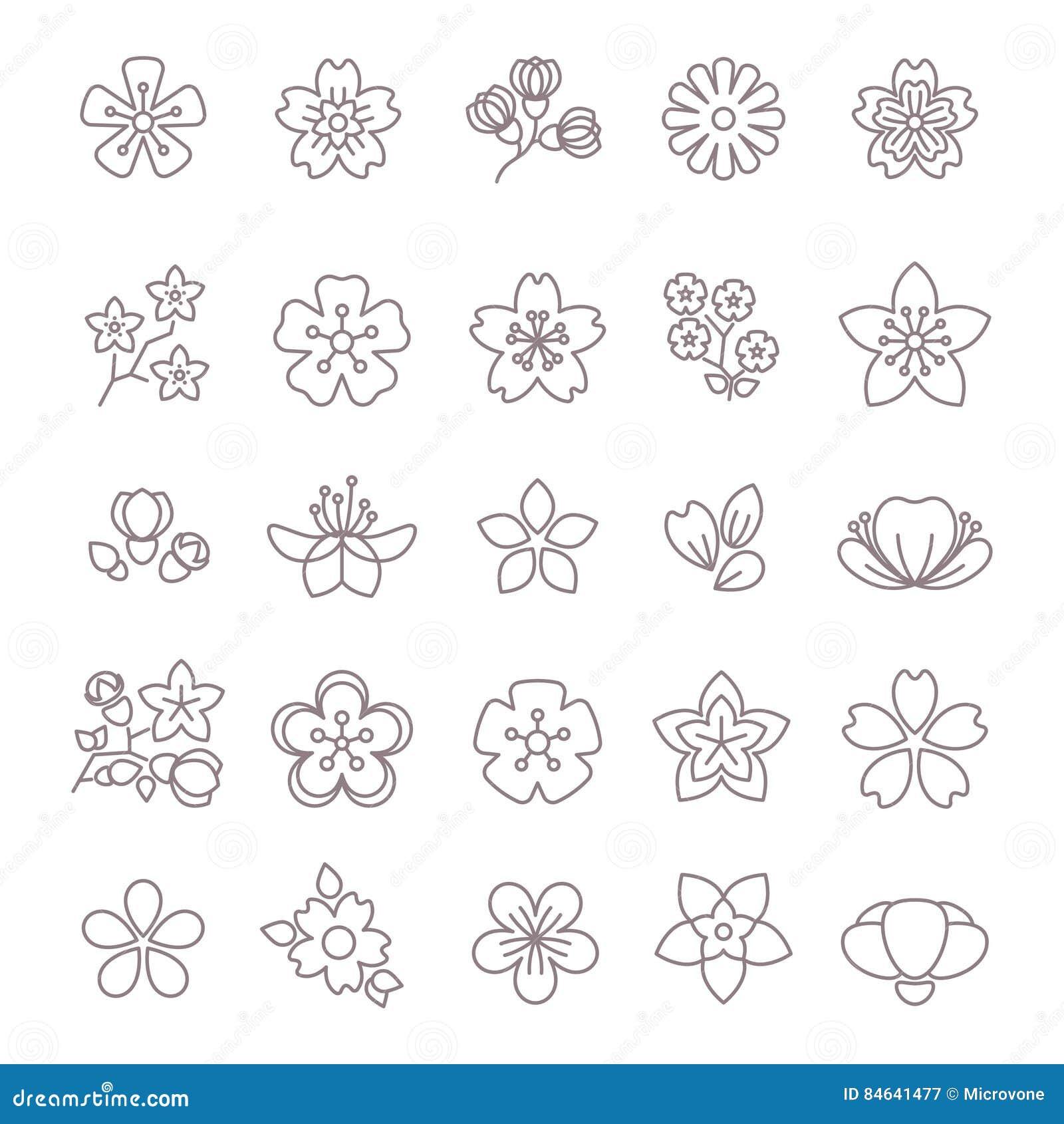 Dunne geplaatste de lijn vectorpictogrammen van de de lentebloem