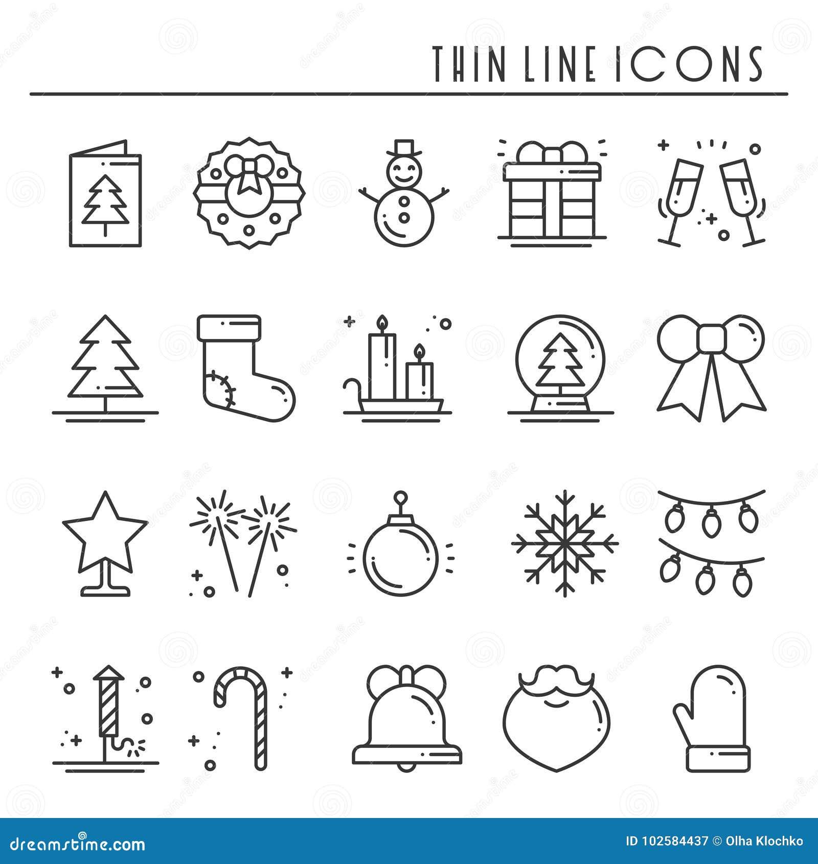 Dunne geplaatste de lijnpictogrammen van de Kerstmisvakantie Het overzichtsinzameling van de nieuwjaarviering