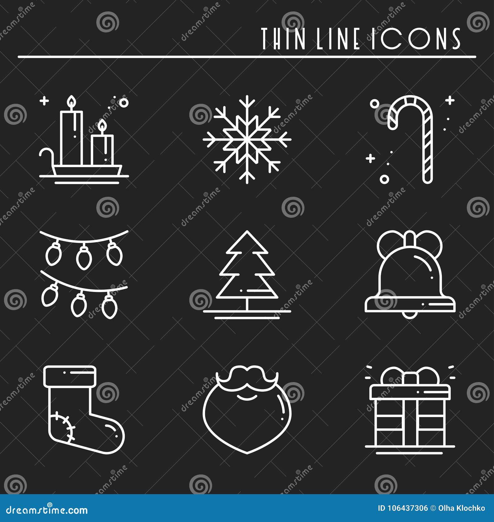 Dunne geplaatste de lijnpictogrammen van de Kerstmisvakantie Het overzichtsinzameling van de nieuwjaarviering De basiselementen v
