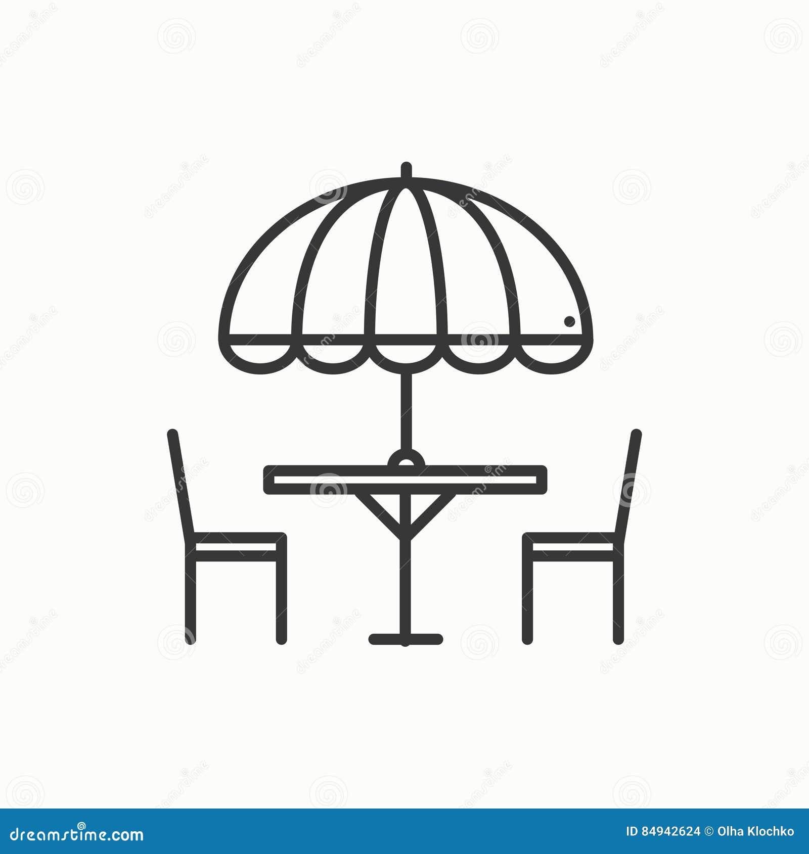 Dunne geplaatste Lijnpictogrammen Lijst en stoel buiten outdoors De koffie van de silhouetstraat, restaurantteken De voedseldiens