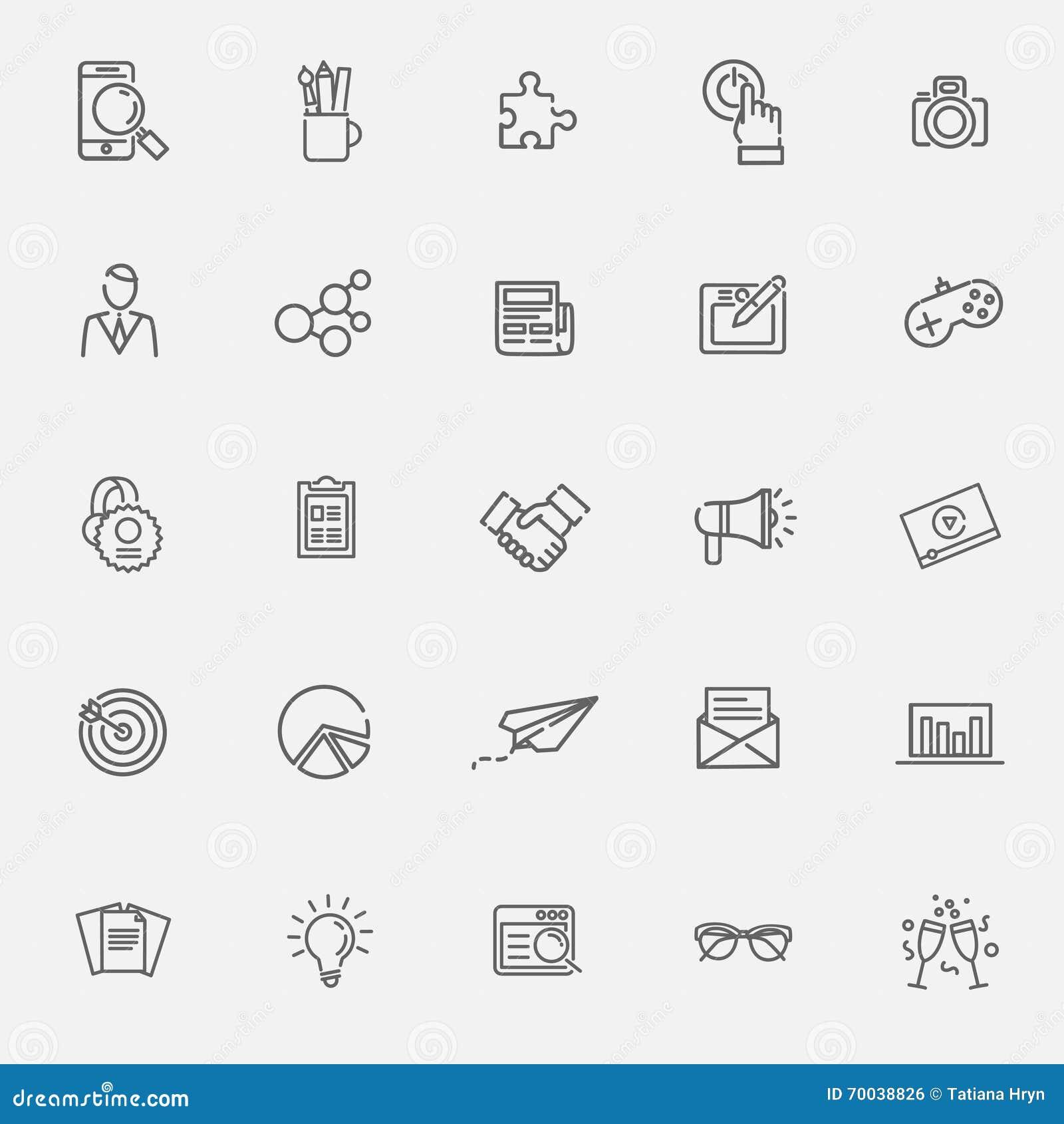 Dunne geplaatste Lijnpictogrammen Pictogrammen voor zaken, digitale marketing