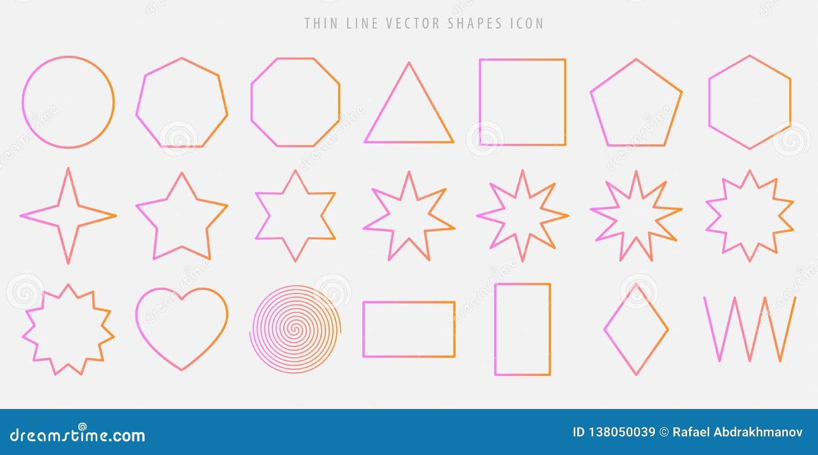 Dunne het pictogramreeks van lijn vectorvormen cirkel, vierkant, driehoek, veelhoek, ster, hart, spiraal, ruit, de cijfers van he