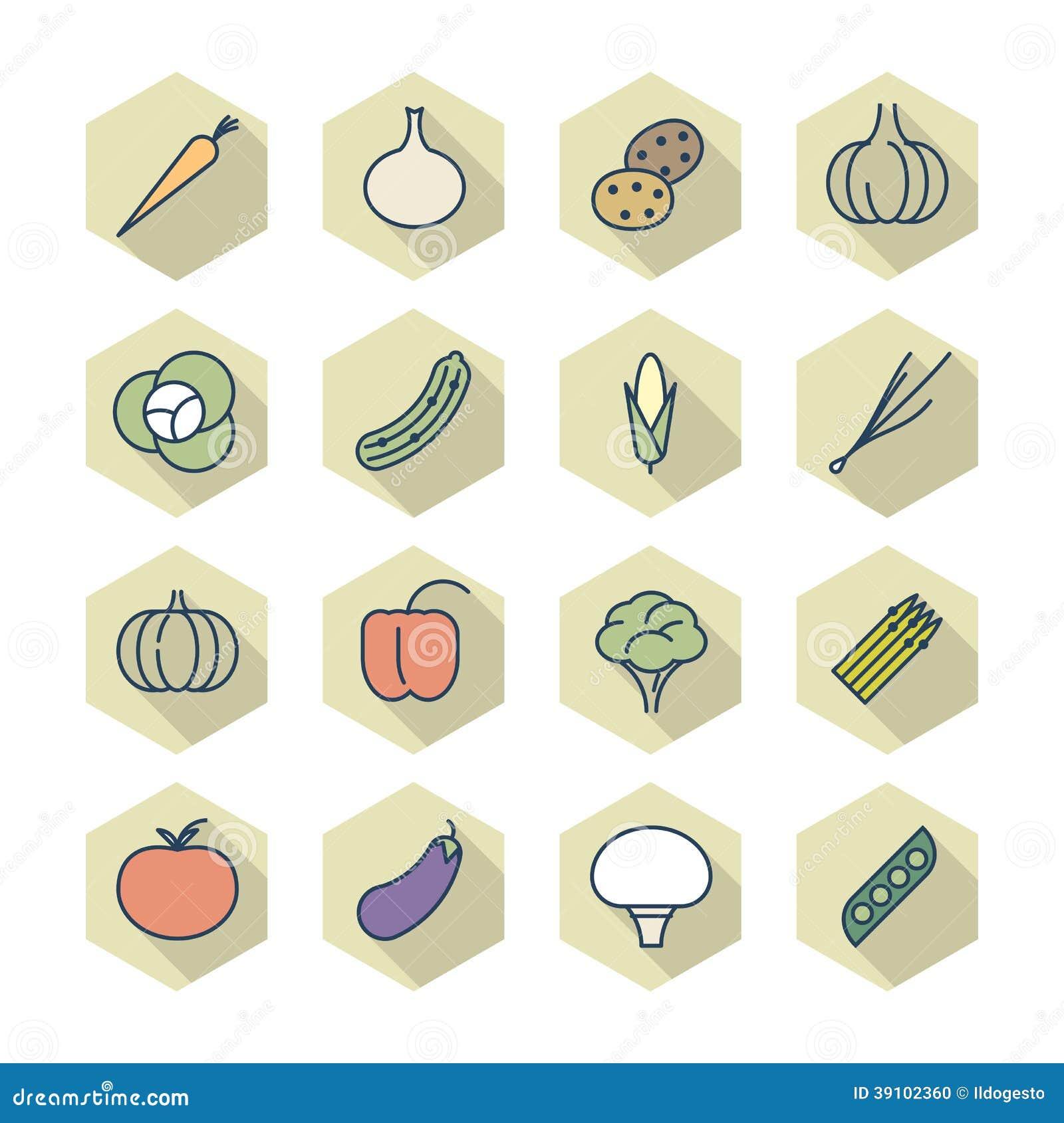 Dunne Lijnpictogrammen voor Groenten