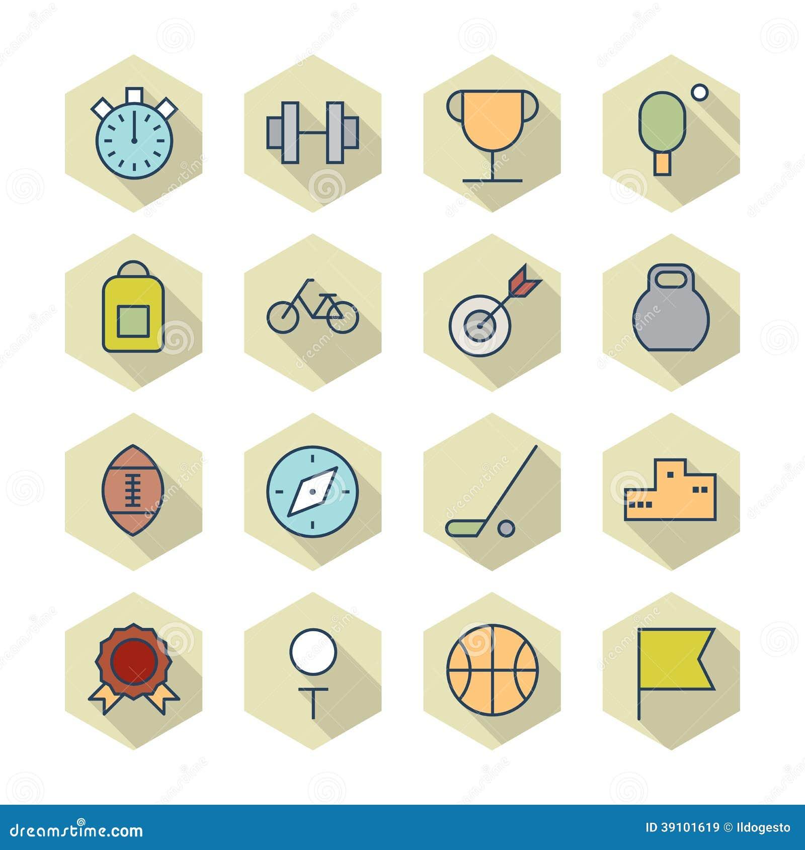 Dunne Lijnpictogrammen voor Sport