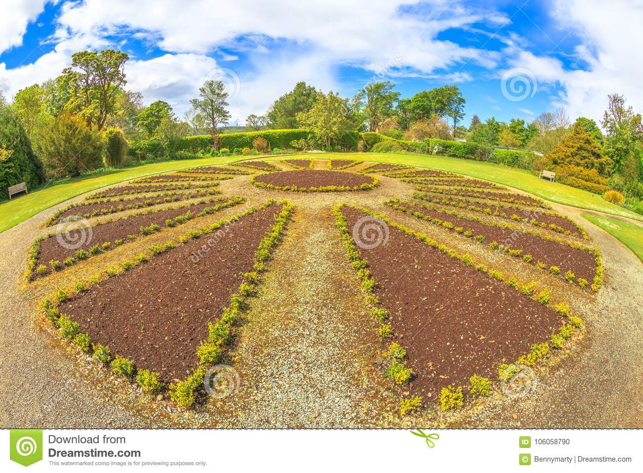 Dunvegan garden flowerbed stock photo. Image of touristic - 106058790