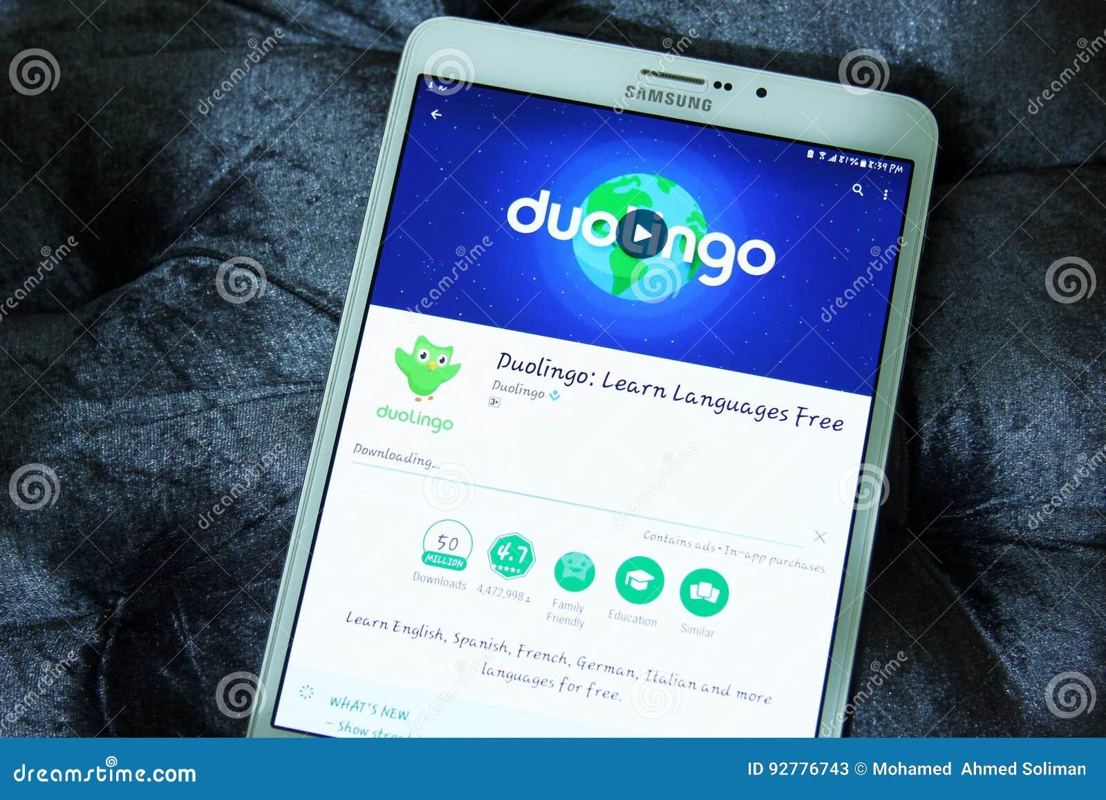 Duolingo Language Learning App Editorial Stock Photo - Image of play