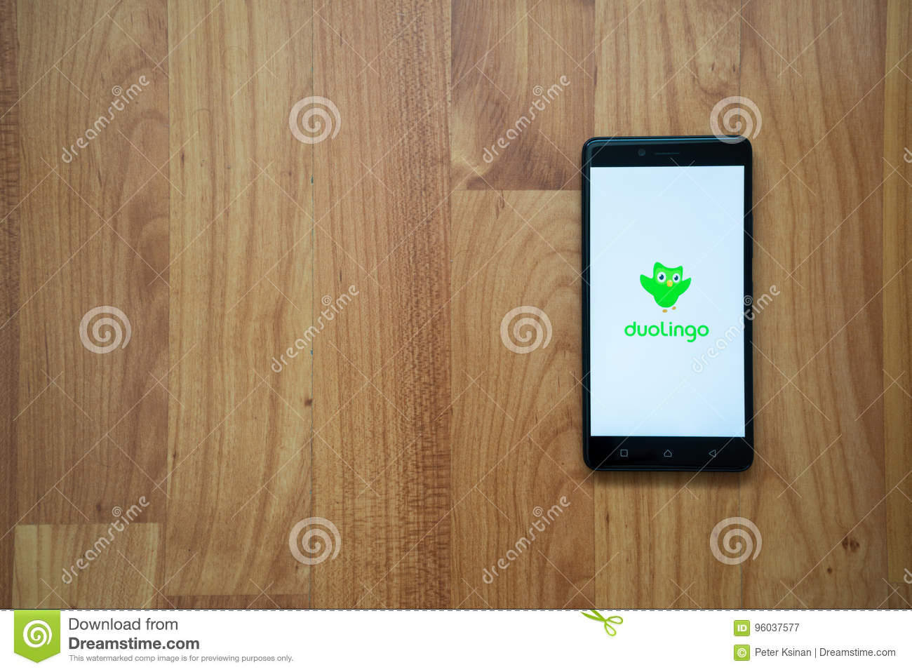 Duolingo on smartphone editorial photography  Image of