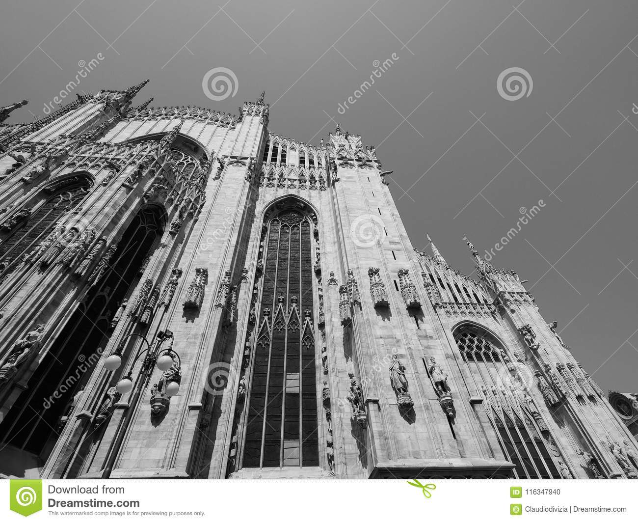 Duomo di milano meaning milan cathedral church in milan italy in black and white